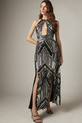 KAREN MILLEN Premium Beaded and Embellished Maxi Split Dress – glamorous cutout evening dresses – occasion glamour – cut out event wear - flipped