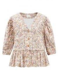 KIKA VARGAS Bonita V-neck floral-print cotton-blend top | peplum tops | romantic puff sleeve blouses