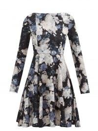 ERDEM Martine Giselle floral-print jersey dress / long sleeve boat neck fit and flare dresses
