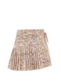 KIKA VARGAS Regina floral-print cotton-blend mini skirt | asymmetric pleated hem skirts