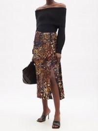 ALTUZARRA Tandy printed-satin skirt ~ fluid fabric split hem skirts ~ autumn colours