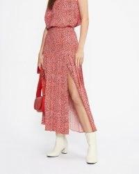 TED BAKER ZANDI Printed Knife Pleat Midi Skirt With Split in Bright Pink / spot print slit hem skirts