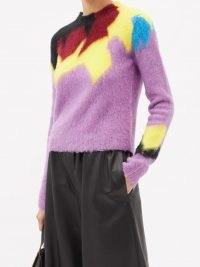 LOEWE Abstract-intarsia round-neck sweater   womens fluffy purple sweaters