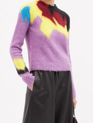 LOEWE Abstract-intarsia round-neck sweater | womens fluffy purple sweaters - flipped