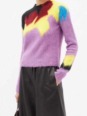 LOEWE Abstract-intarsia round-neck sweater | womens fluffy purple sweaters