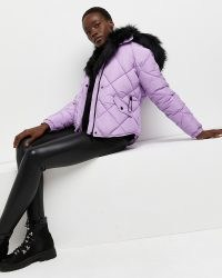 RIVER ISLAND Purple quilted puffer coat ~ padded faux fur hood coats ~ womens fashionable winter outerwear