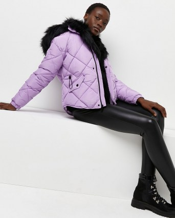 RIVER ISLAND Purple quilted puffer coat ~ padded faux fur hood coats ~ womens fashionable winter outerwear - flipped