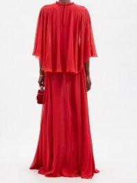 GIAMBATTISTA VALLI Red cape-sleeve silk-georgette gown ~ flowing event gowns
