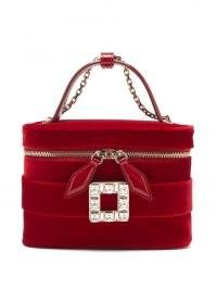 ROGER VIVIER Crystal-buckle red-velvet cross-body bag – small luxe top handle bags – luxury mini handbags