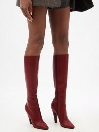 SAINT LAURENT Koller red leather knee-high boots ~ womens cone heel autumn boots ~ warm winter colours for women's footwear
