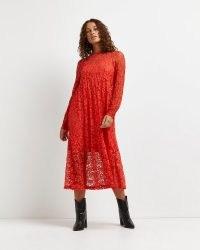 RIVER ISLAND Red lace midi dress ~ floral semi sheer dresses