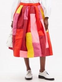 COMME DES GARÇONS COMME DES GARÇONS Patchwork felt midi skirt – bright skirts with volume