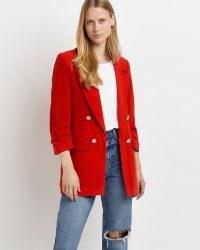 RIVER ISLAND Red tailored blazer ~ womens bright gathered 3/4 length sleeve blazers