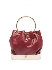 ROSANTICA Velo red-leather bucket bag / small luxe drawstring top bags / designer top handle handbags