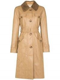 Rejina Pyo Hana detachable-collar trench coat   womens beige belted coats   women's stylish autumn outerwear