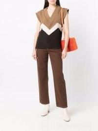 Rejina Pyo V-neck panelled sleeveless jumper   womens neutral colour block jumpers   women's cap sleeve tank style sweater