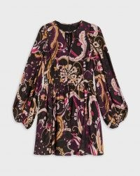 TED BAKER RHABIA Relaxed fit paisley mini dress in Deep Purple / womens retro fashion / vintage style balloon sleeve dresses