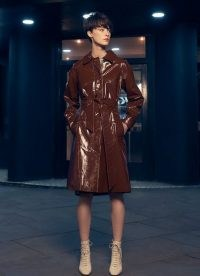 L.K. BENNETT ROMAIN BROWN PATENT LEATHER MAC / women's high shine macs / retro autumn outerwear / womens shiny tie waist coats