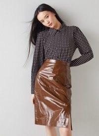 L.K. BENNETT ROMAIN BROWN PATENT LEATHER PENCIL SKIRT / luxe high shine skirts