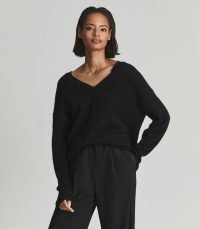 Reiss ROSA V NECK CASHMERE JUMPER BLACK | womens drop shoulder jumpers | women's luxe knitted pullovers