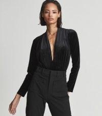 Reiss ROSALBA PLUNGE NECK VELVET BODYSUIT BLACK – deep plunging evening bodysuits