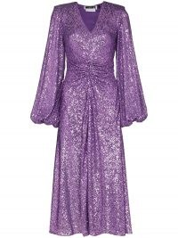 ROTATE Sirin sequinned V-neck dress in dewberry ~ sparkling purple occasion dresses