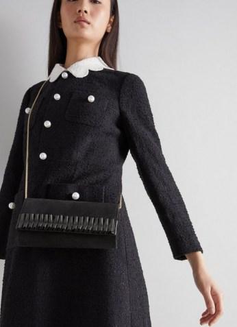 L.K. Bennett RUTHIE BLACK SUEDE CLUTCH | ruffle detail bags | chic crossbody - flipped