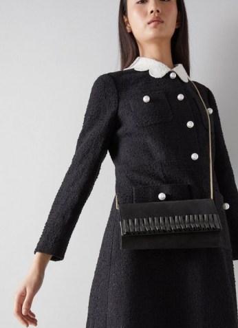 L.K. Bennett RUTHIE BLACK SUEDE CLUTCH | ruffle detail bags | chic crossbody