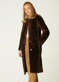 L.K. BENNETT SABLE LEOPARD PRINT SHEARLING COAT / womens luxe animal print winter coats / women's glamorous outerwear