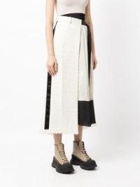 sacai two-tone tweed skirt black and white | monochrome textured fringe hem skirts