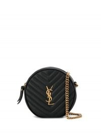 Nina Dobrev round black crossbody bag, Saint Laurent Vinyle quilted bag, out in Los Angeles, 25 September 2021 | celebrity cross body bags | star style accessories