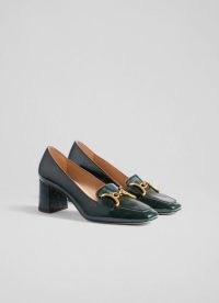 L.K. BENNETT SAMANTHA GREEN CRINKLE PATENT SNAFFLE-DETAIL COURTS ~ vintage style block heel square toe shoes ~ 60s retro loafer inspired court shoes