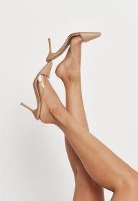 MISSGUIDED sand perspex panel pointed toe slip on mules – semi sheer point toe stiletto heel mule