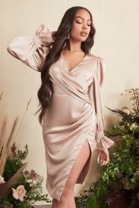 Lavish Alice satin balloon sleeve wrap midi dress in champagne | thigh high split hem evening dresses | luxe style going out fashion