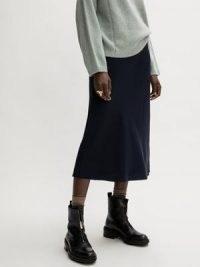 Jigsaw Satin Bias Midi Slip Skirt in Navy | dark blue fluid fabric skirts