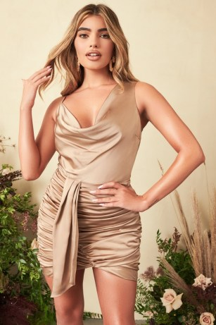 Lavish Alice satin cowl neck gathered mini dress in bronze | asymmetric plunge front party dresses | glamorous luxe style going out evening fashion - flipped