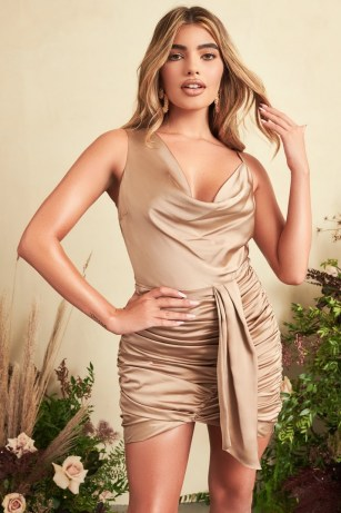 Lavish Alice satin cowl neck gathered mini dress in bronze | asymmetric plunge front party dresses | glamorous luxe style going out evening fashion