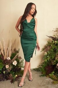Lavish Alice satin cross back cowl neck midi dress in emerald green – side ruched strappy back going out dresses – evening glamour – glamorous fitted party fashion