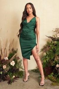 Lavish Alice satin cross back cowl neck midi dress in emerald green | thigh high slit hem going out dresses | glamorous evening fashion | party glamour