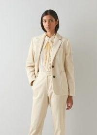 L.K. Bennett SAVANNAH CREAM COTTON CORD JACKET – neutral corduroy jackets – womens 70s inspired fashion