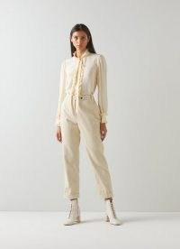L.K. Bennett SAVANNAH CREAM COTTON CORD TROUSERS – womens cuffed hem corduroy pants – women's 70s style fashion