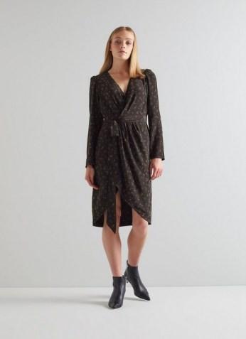 L.K. BENNETT SELENE BLACK FLORAL PRINT WRAP DRESS / long sleeve tie waist dresses - flipped