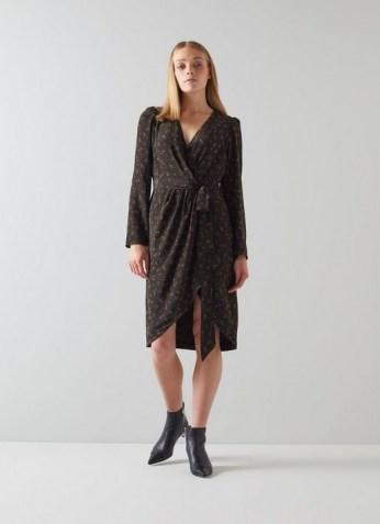 L.K. BENNETT SELENE BLACK FLORAL PRINT WRAP DRESS / long sleeve tie waist dresses