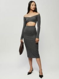 Reformation Shayne Two Piece in Shadow   glamorous bardot crop top and pencil skirt fashion sets   on trend knitted clothing co ords   off the shoulder knitwear