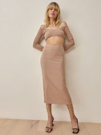 Reformation Shayne Two Piece in Buff – knitted bardot top and skirt fashion set