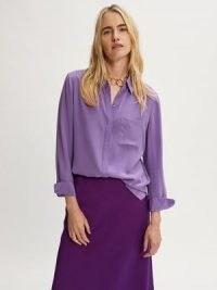 JIGSAW Silk Long Sleeve Shirt in Purple ~ womens luxe style shirts