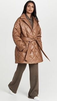 STAND STUDIO Maxim Jacket in Nougat – brown quilted tie waist jackets – womens padded winter outerwear