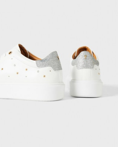 TED BAKER STARRIY Star Studded Platform Trainer / sports luxe trainers / glitter back sneakers - flipped