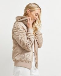River Island Stone ruched hooded bomber jacket | womens neutral sports luxe style jackets
