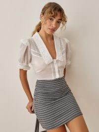 REFORMATION Suzie Skirt in Black Check / checked mini skirts